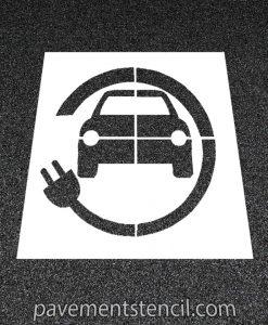 Car with circle plug stencil